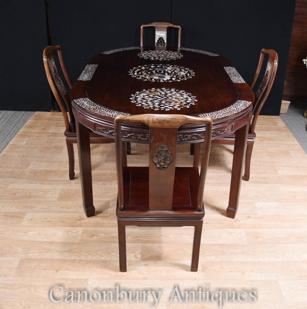 Antique Chinese Dining Set Table And Chairs Mother Of Pearl Inlay Pleasing Antique Dining Room Table And Chairs Decorating Inspiration