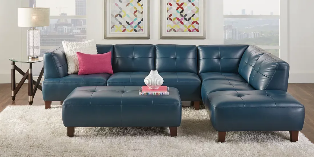 Villa Capri Blue 2 Pc Leather Sectional Rooms To Go Living Room Leather Leather Living Room Furniture Leather Living Room Set