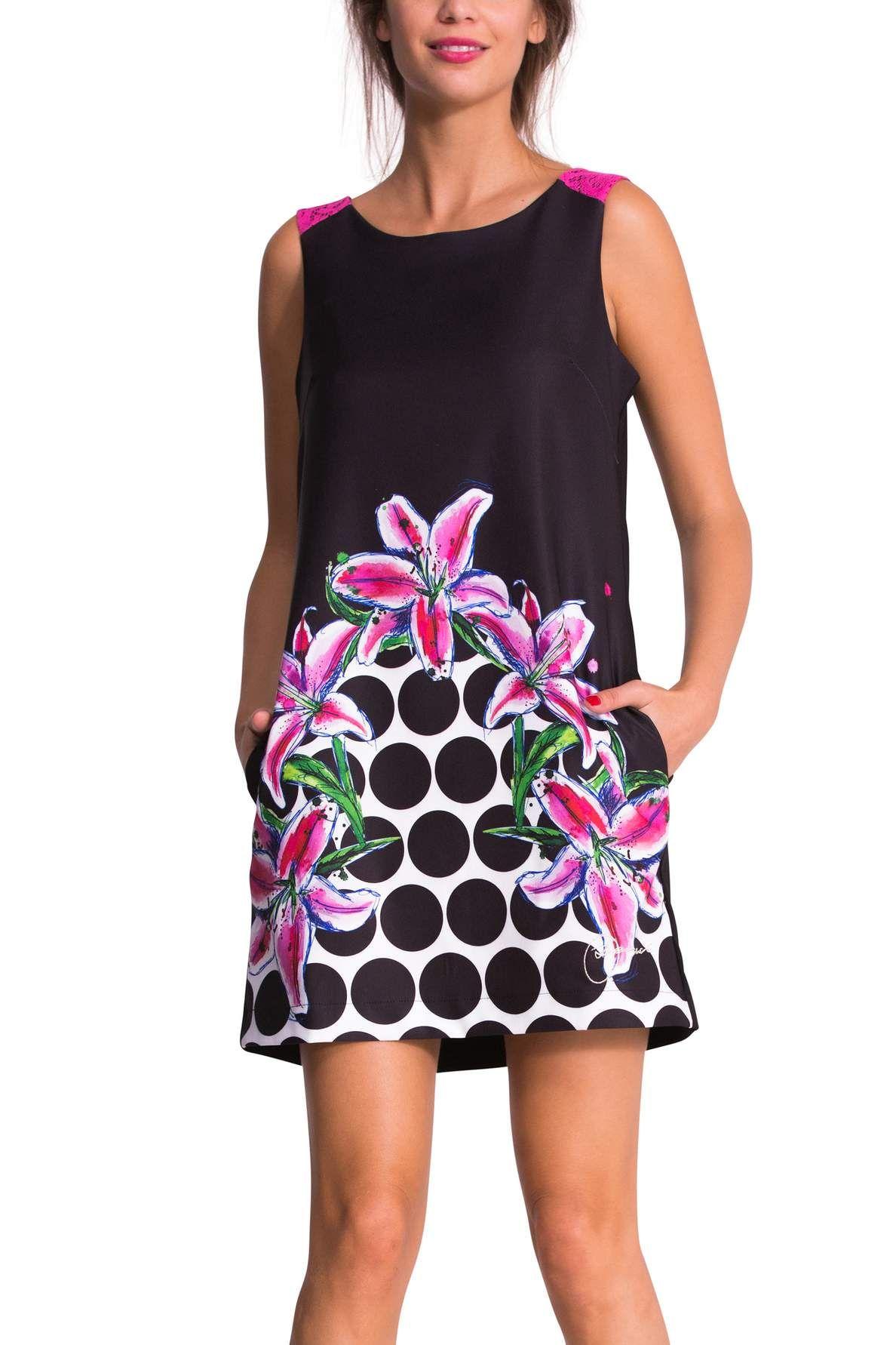 Zwarte korte jurk type overgooier | Desigual Sicilia | zomer kleding ...