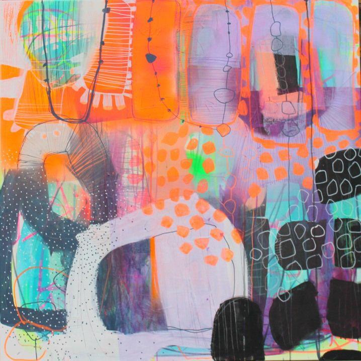 Et maleri i neonfarver i bl.a. orange, blå og lilla nuancer. Dette maleri med neonfarver gør sig perfekt i det moderne hjem.