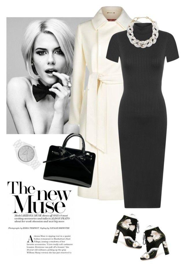 """Black midi dress"" by lera-chyzh ❤ liked on Polyvore featuring Dolce&Gabbana, MaxMara, WearAll, DIANA BROUSSARD and MICHAEL Michael Kors"