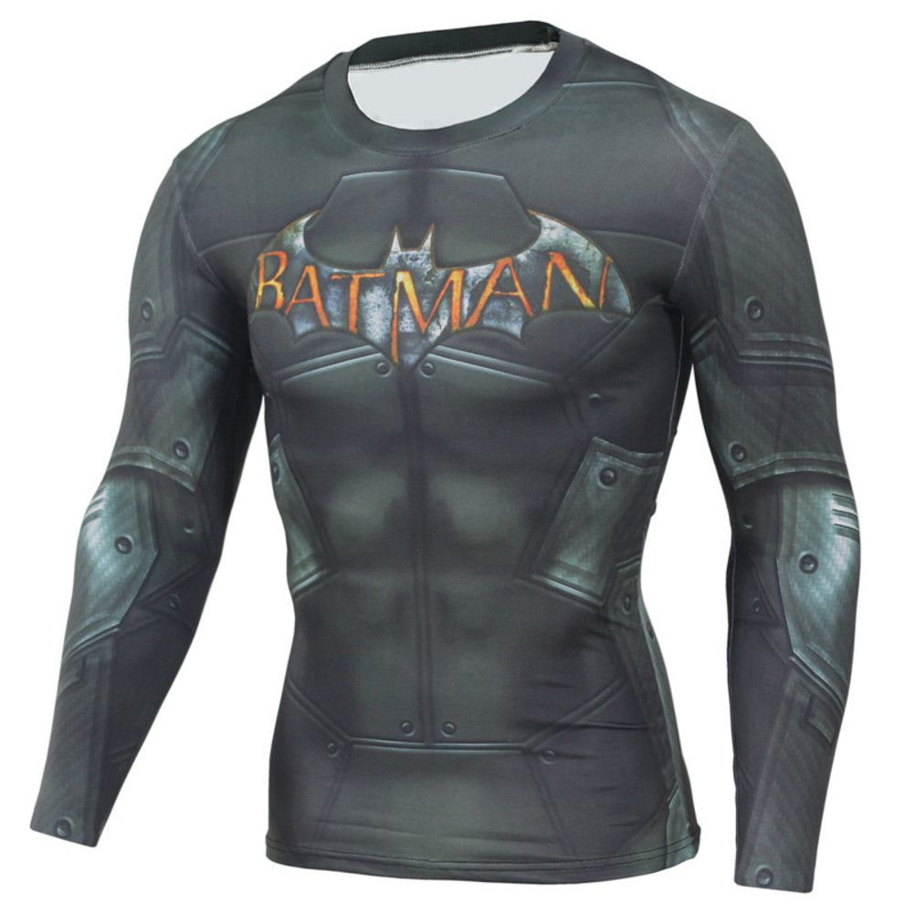 Running T-shirt Compression Sports Gym Fitness Batman 3D Print Tops Tees