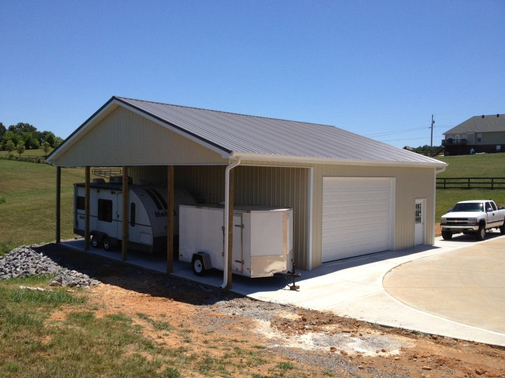 Pollbarn Garage With Lean To Nice Garage With Lean To View Building A Garage Garage Style Metal Garage Buildings