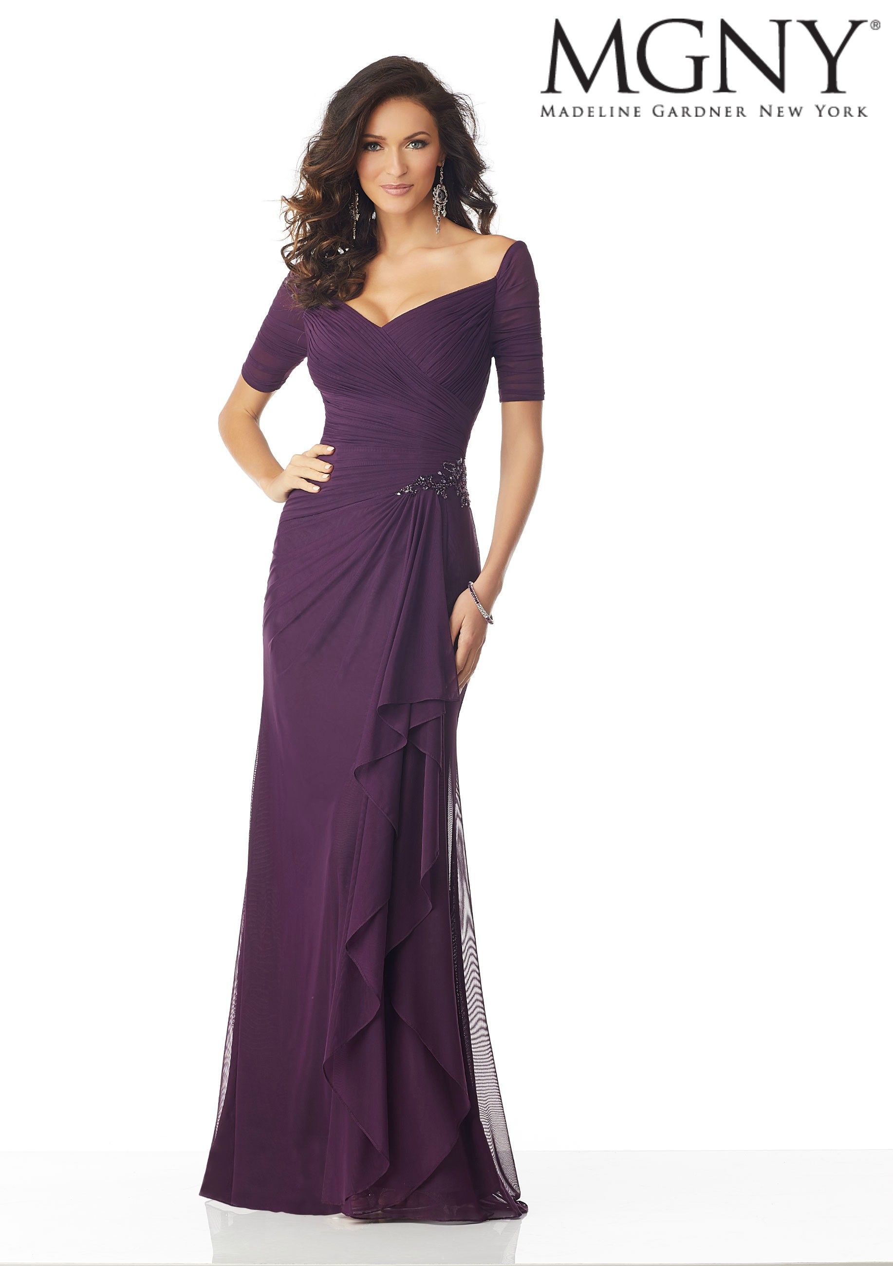 81c2b5634a6 Stretch Mesh Evening Gown with Draping and Beading in 2019