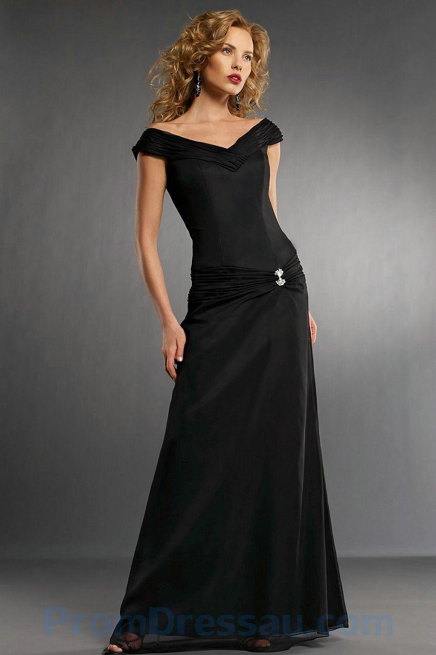 Off the shoulder v neck chiffon black wedding dressg