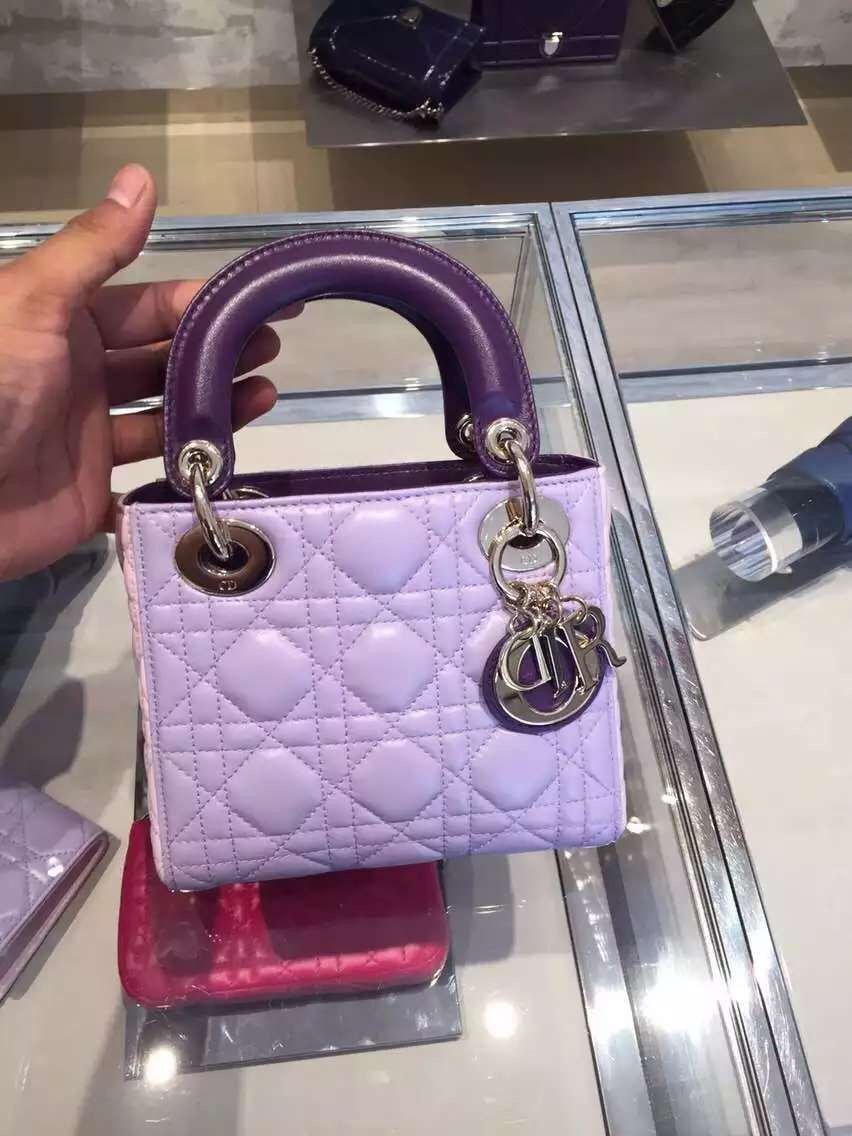 8068f38aeb2 Authentic Lady Dior Mini Small Handle Bag 2 Purple | Lady Dior Bags ...
