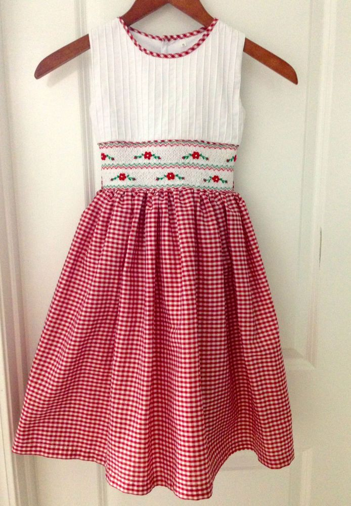 Hand smocked Girls Christmas dress Size 5T #Handmade #DressyHoliday
