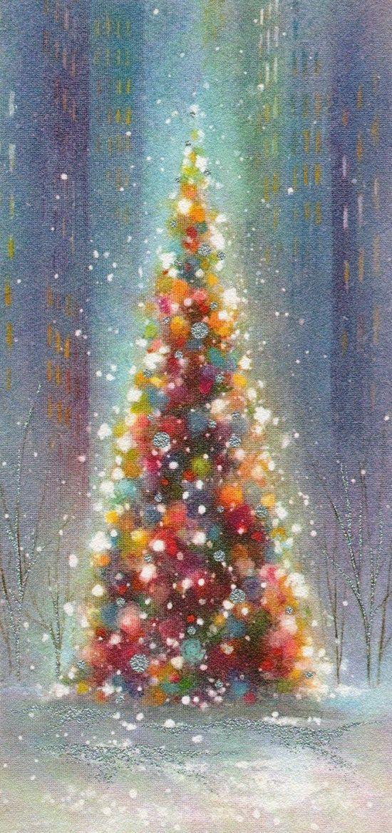 Christmas Paintings Christmas Art Vintage Christmas Tree Decorations