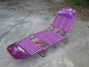 Vintage Plastic Vinyl Tube Multi Folding Lounge Chair Beach Lawn