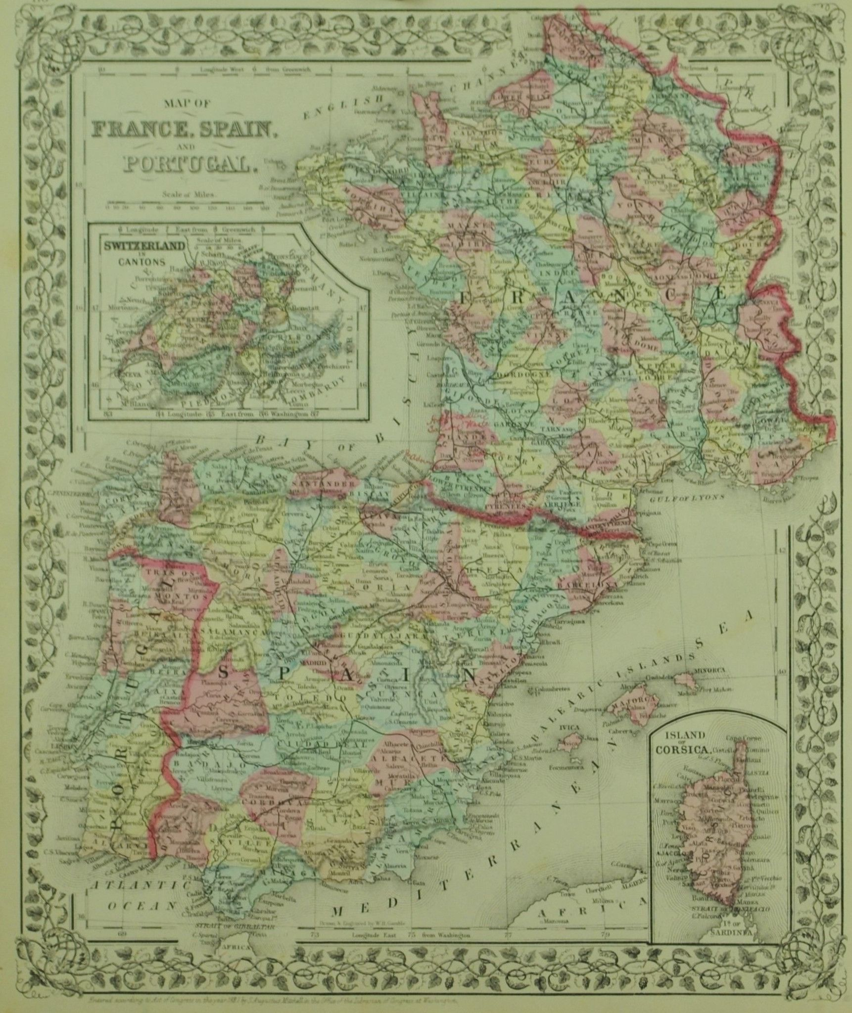 Map Of Spain And Portugal And France.1881 Map Of France Spain And Portugal S Mitchell Jr Close To My