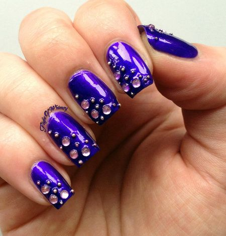 Bedazzled - #nailart #nails #brightblue #bedazzled #brightnails #bluepolish - Love beauty? Go to bellashoot.com for beauty inspiration!
