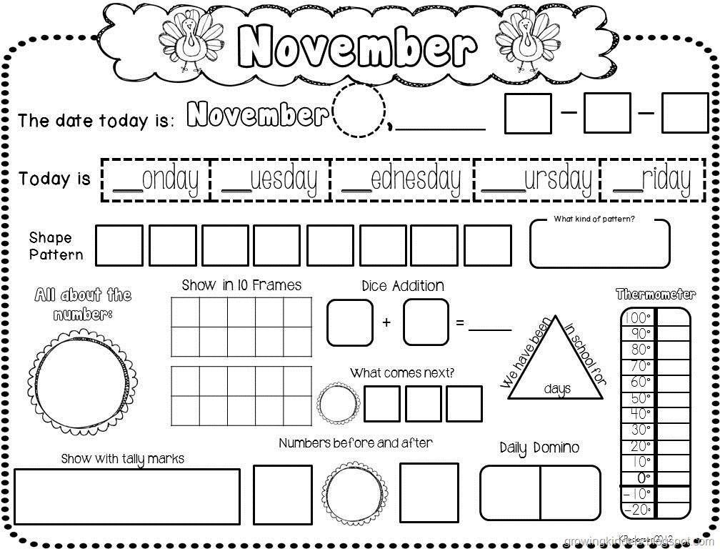 Daily Calendar Journal Kindergarten : November calendar st grade pinterest math maths