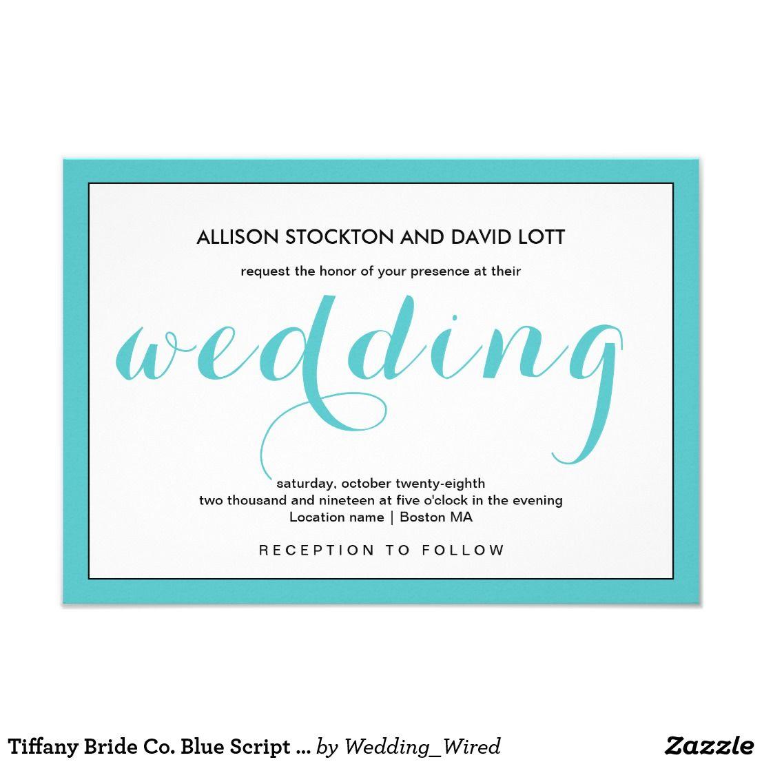 Bride Co Tiffany Blue Script Wedding Invitation