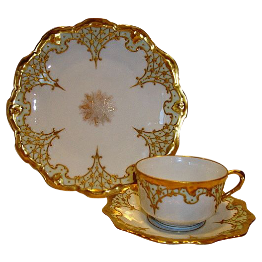 Elegant Limoges Porcelain Trio of Cup, Saucer & Plate ~ Hand Painted with Raised Gold ~ Coiffe / Blakeman Henderson Limoges France 1890-1910