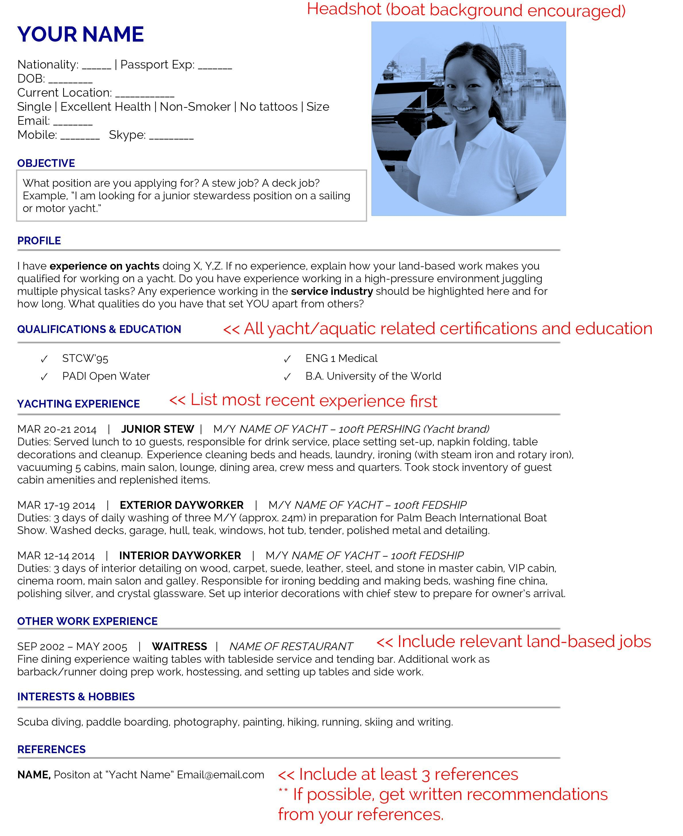 Cv Template Yacht Crew Resume Format Cv Template What Is Positive Yacht