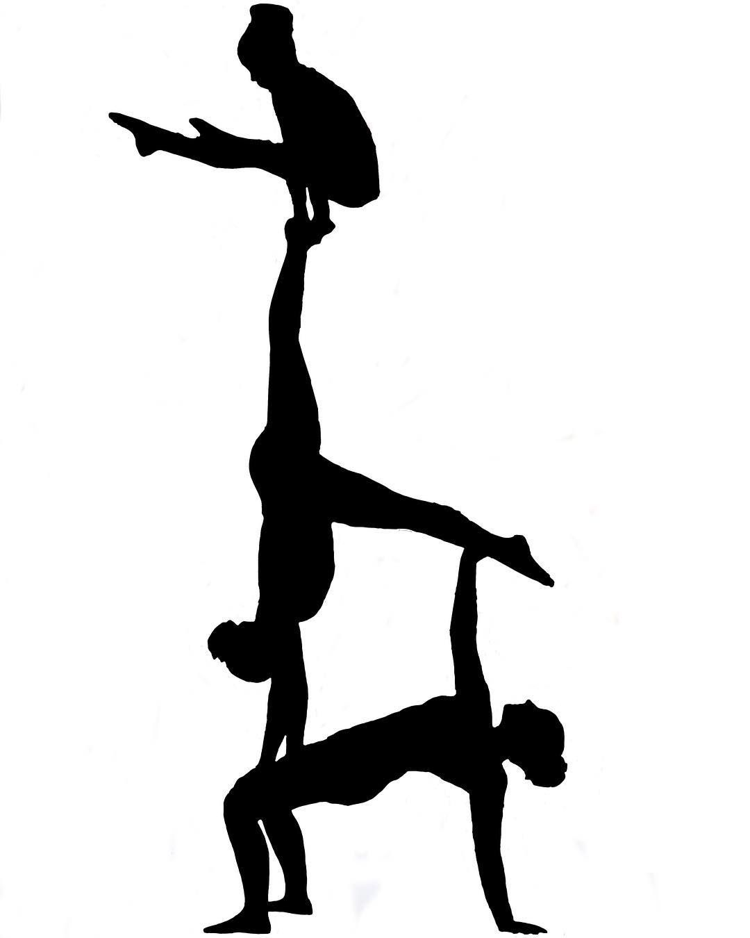 Silhouette Acrobatic Gymnastics Women Group Siluetas Acrobatas Grafitis