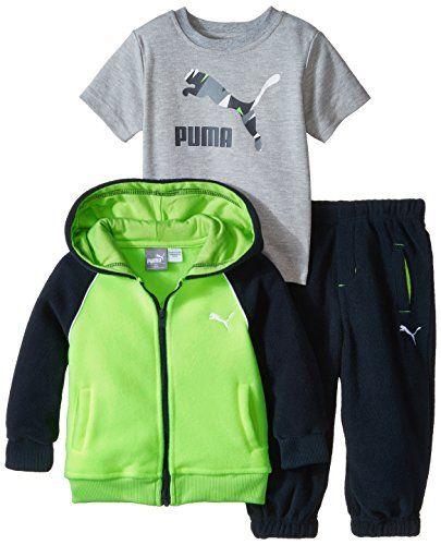 611afd92b PUMA Baby Boys 3pc Jacket Tee Pant Set Acid Yellow 12 Months -- Find ...