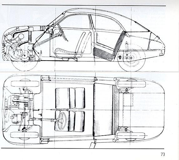 technical drawings of original saab 92 production model