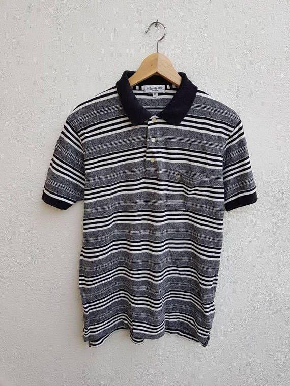 613049c7e Vintage 90s YSL Yves Saint Laurent Pour Homme Stripes Style Casual ...