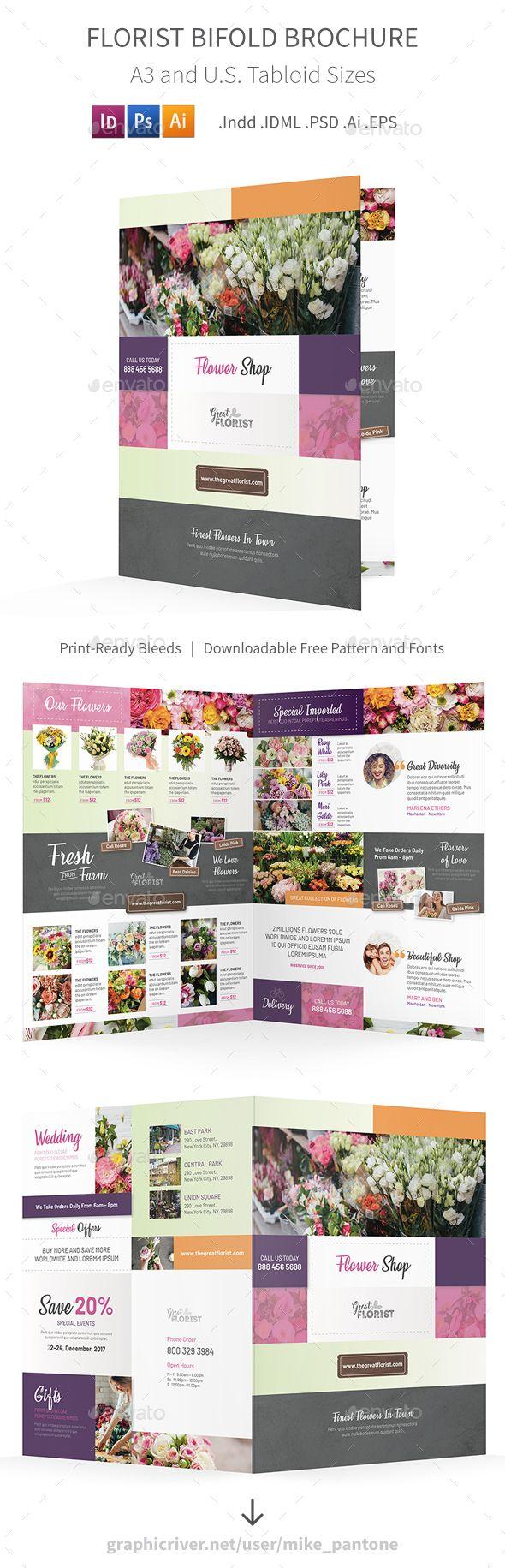 Florist Bifold  Halffold Brochure   Brochures Florists And