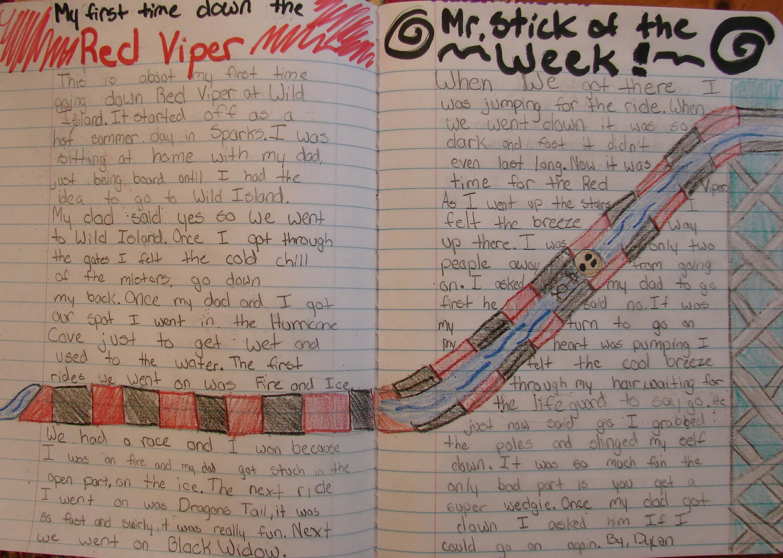 I found an archived folder of photos of my kids' notebook pages from that time before we had Pinterest. Some students (like 6th grader Dylan) plan out  a page's layout before they begin writing, which doesn't work for all, but when it works...well, GO, DYLAN! Here's a 7th grader's notebook that used water slides similarly in planning her notebook entry: http://www.pinterest.com/pin/450852612668292511/