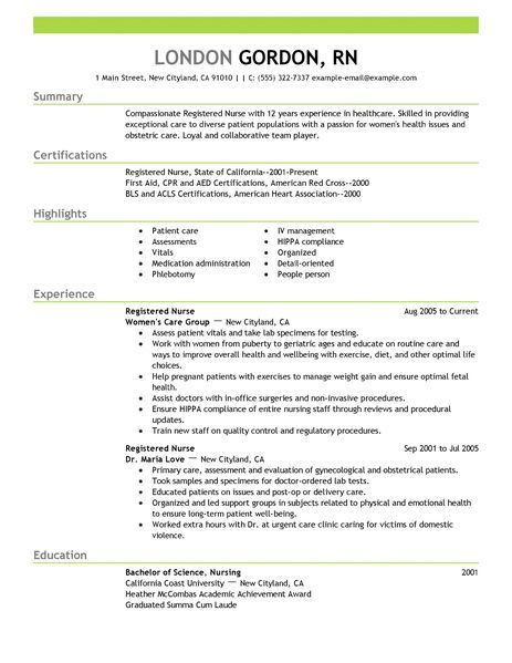 registered nurse resume example to learn the best resume