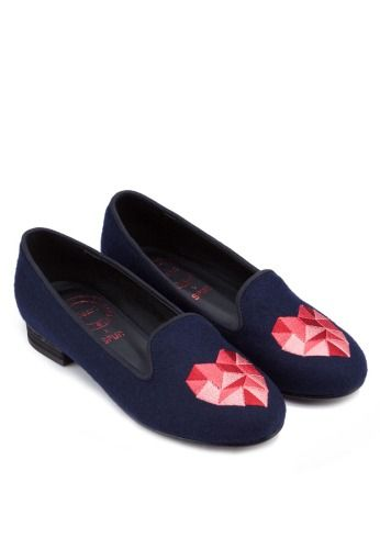 SPUR Heart Shape Embroidered Loafers 刺繡平底船鞋