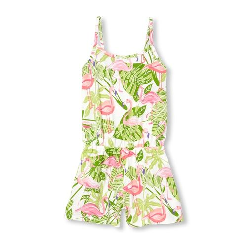 cc12336e9cd8 Girls Sleeveless Flamingo Print Knit Romper