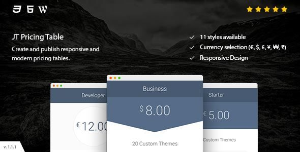 JT Pricing Table by JSquareThemes on CodeCanyon