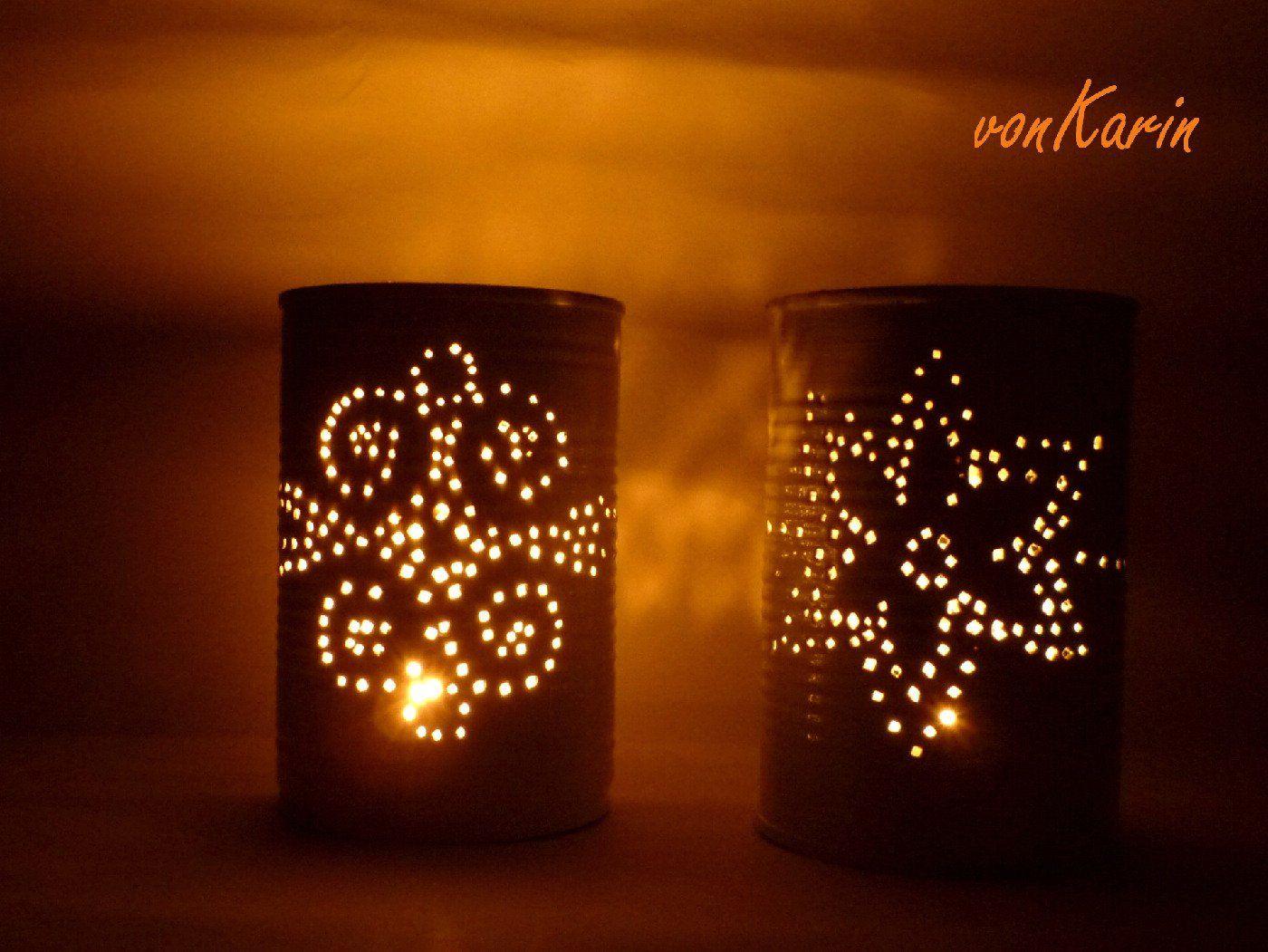 romantische laternen aus konservendosen dose laternen und sehen. Black Bedroom Furniture Sets. Home Design Ideas
