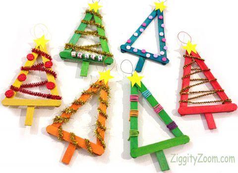 Popsicle Stick Christmas Tree Ornaments.Diy Christmas Ornament Easy Ornaments For Kids To Make