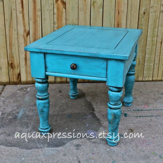 Turquoise Blue/ Night Stand /End Table/ Side Table