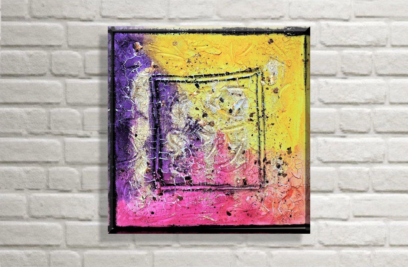 Original abstraktes Abstrakt Bunt | Bliss 20x20 cm | Acryl auf ...