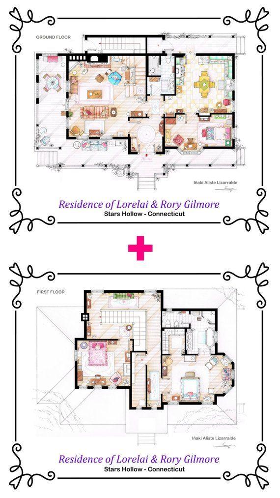 La casa di Lorelai e Rory Gilmore di GILMORE GIRLS Floorplan individuale