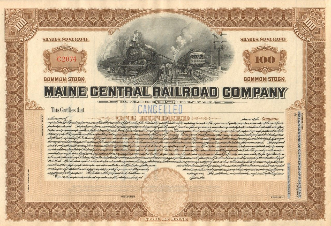 Maine central railroad company stock certificate circa 1920 old maine central railroad company stock certificate circa 1920 xflitez Choice Image