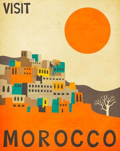 Morocco Travel Poster Art Print  Hieno printti, hienot värit, voisi toimia innoittajana seinämaalaukselle.