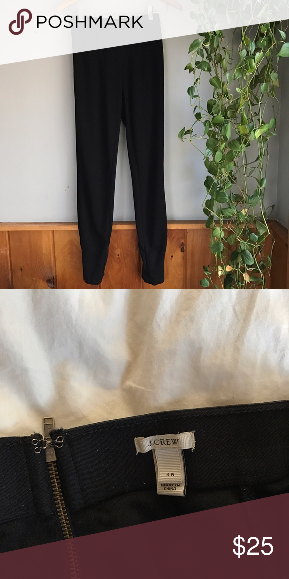 j. crew pixie pants black j. crew pixie pants! these are basically really thick and nice leggings that can be worn in casual work environments or just every day. they're size 4 but have stretched a little bit with wear, would fit a size 6. J. Crew Pants Leggings