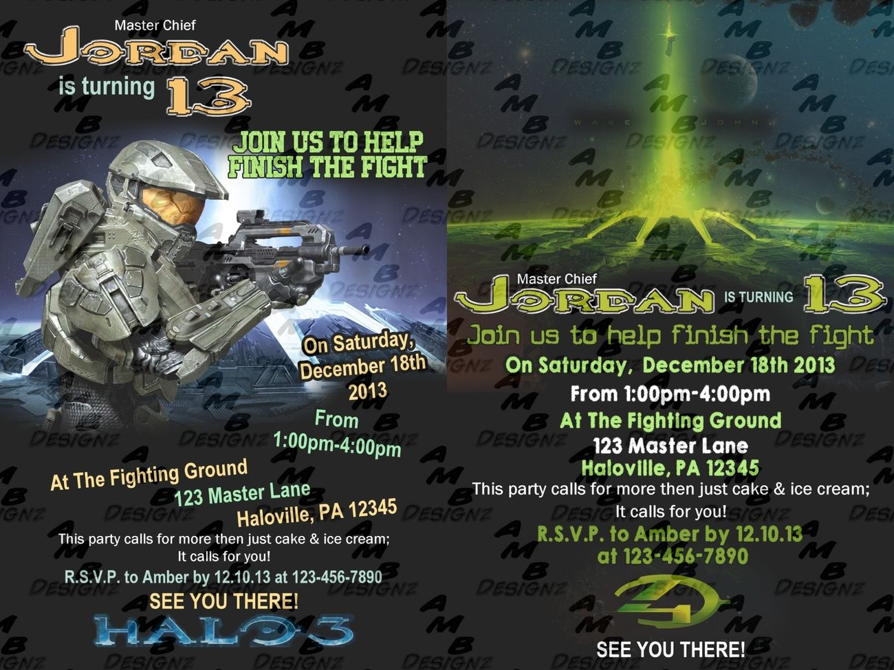 HALO Invitations & matching Party Supplies available    This