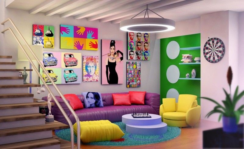 Decorating, Retro Basement Design With Modern Furniture And Cheerful Decorating Ideas Using Elegant Staircase:
