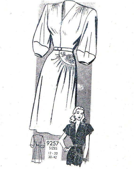 1940s dress pattern marian martin 9257 v neck by. Black Bedroom Furniture Sets. Home Design Ideas