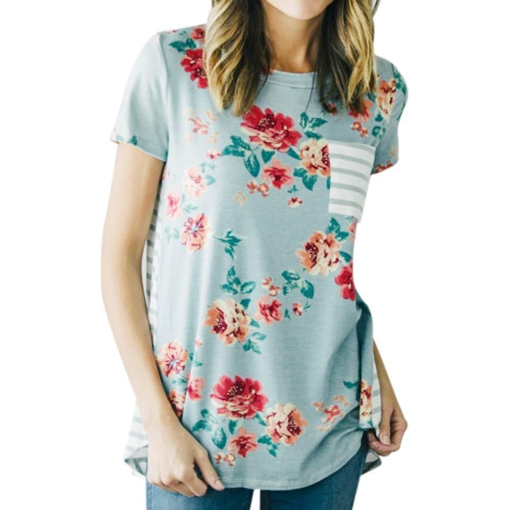 7fe4b975511 Womens Fashionable Short Sleeved Floral Print T-Shirt in 2019 ...