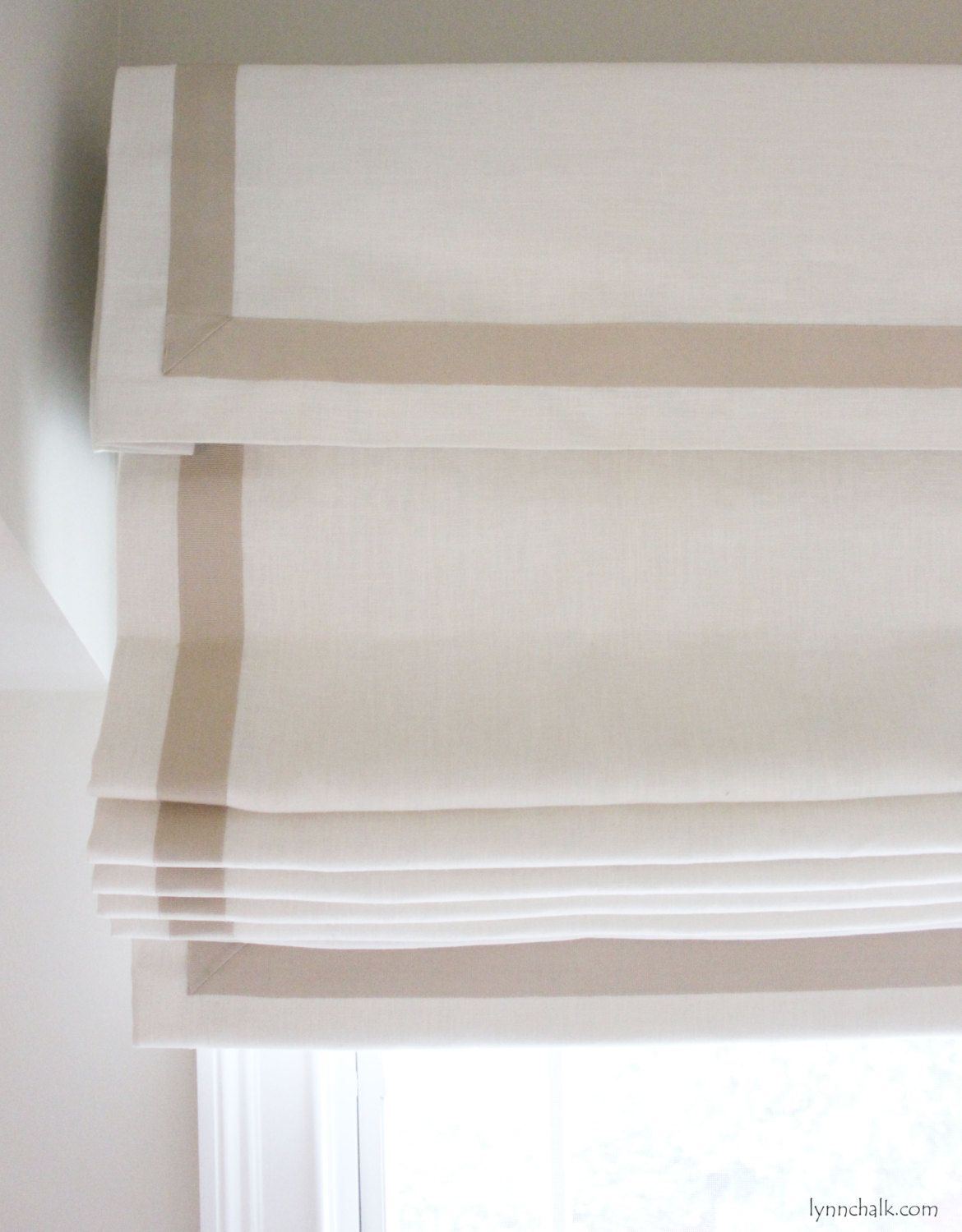 Snow white thermal fabric roman shades free shipping on orders over - Roman Shade In Kravet Dublin Linen With Samuel Sons Grosgrain Ribbon Trim