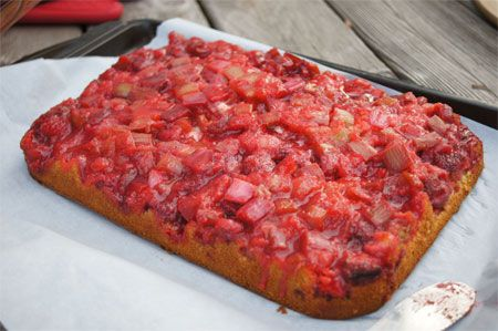 Strawberry rhubarb upside down cake recipe