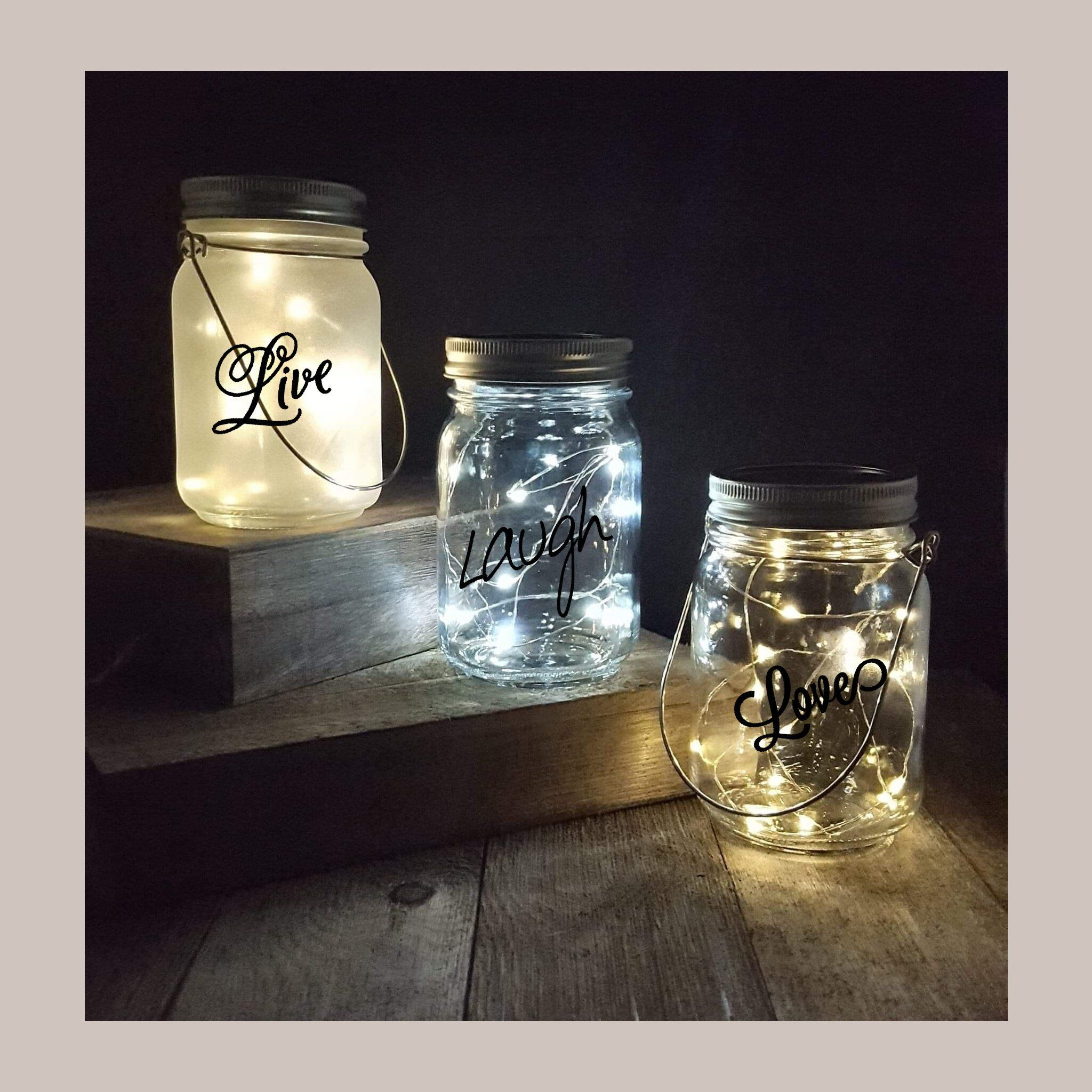 Solar Powered Hanging Or Table Top Star Fairy Light Mason Jar Frosted Clear Jar Colored Customize With Vinyl Wording White Lights