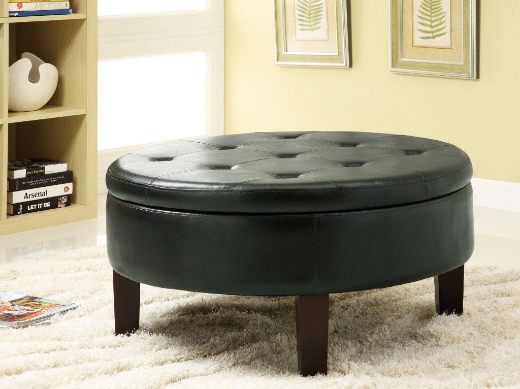 Round Storage Ottoman Coffee Table Round Padded Coffee Table ...