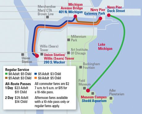 Chicago Water Taxi Map TRIPS Chicago Pinterest Chicago - Chicago union station map