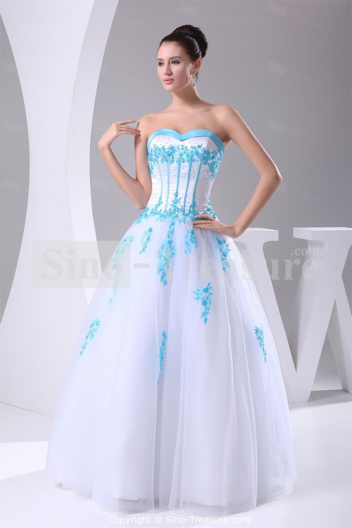 White Sweetheart Floor Length Satin Corset Back Wedding Dress With Color Wholesale Price