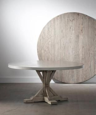 Round Concrete and Elm Dining Table Mecox Gardens 2600