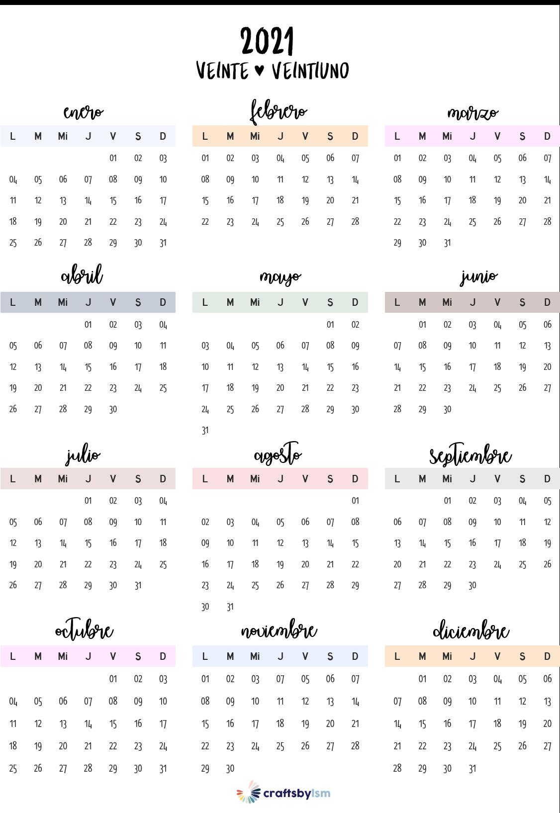 Calendario Anual 2021 en 2020 | Calendario para imprimir gratis