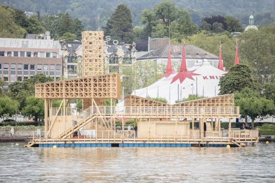 Floating timber pavilion transforms a Swiss lake into an